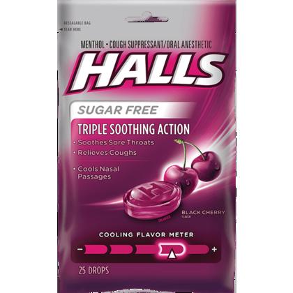 HALLS gouttes contre la toux sans sucre 30Pcs / Pack - Black Cherry