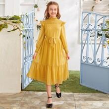 Maedchen Kleid mit Stehkragen, Raffung, Punkten Muster und Guertel