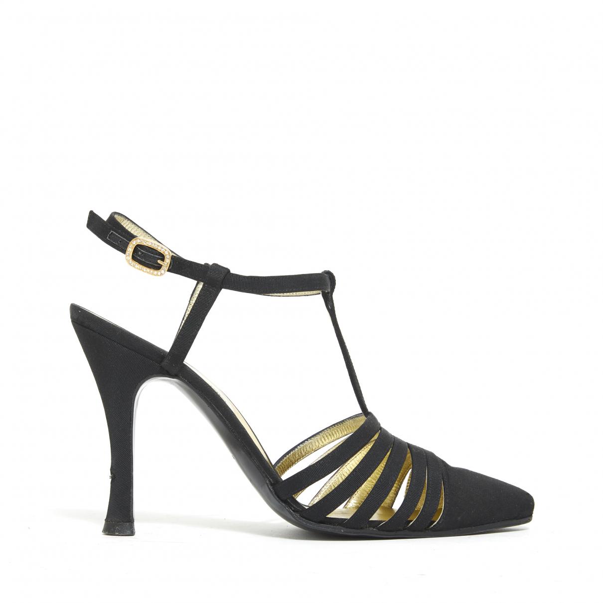 Chanel - Escarpins   pour femme en toile - noir
