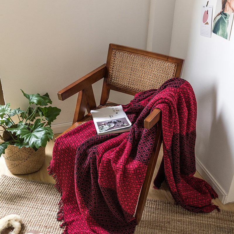 Contrast Color Grid Tassel Knitted Throw Blanket Autumn Spring Soft Sleeping Blanket Sofa Cover Blanket Knee Blanket