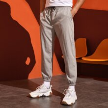 Men Embroidered Detail Solid Sweatpants