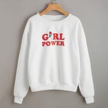 Letter Rose Graphic Sweatshirt