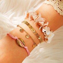 4pcs Shell Decor Bracelet
