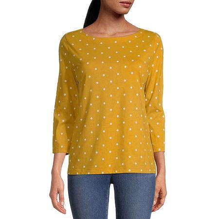 St. Johns Bay Petite Classic-Womens Boat Neck 3/4 Sleeve T-Shirt, Petite X-large , Yellow
