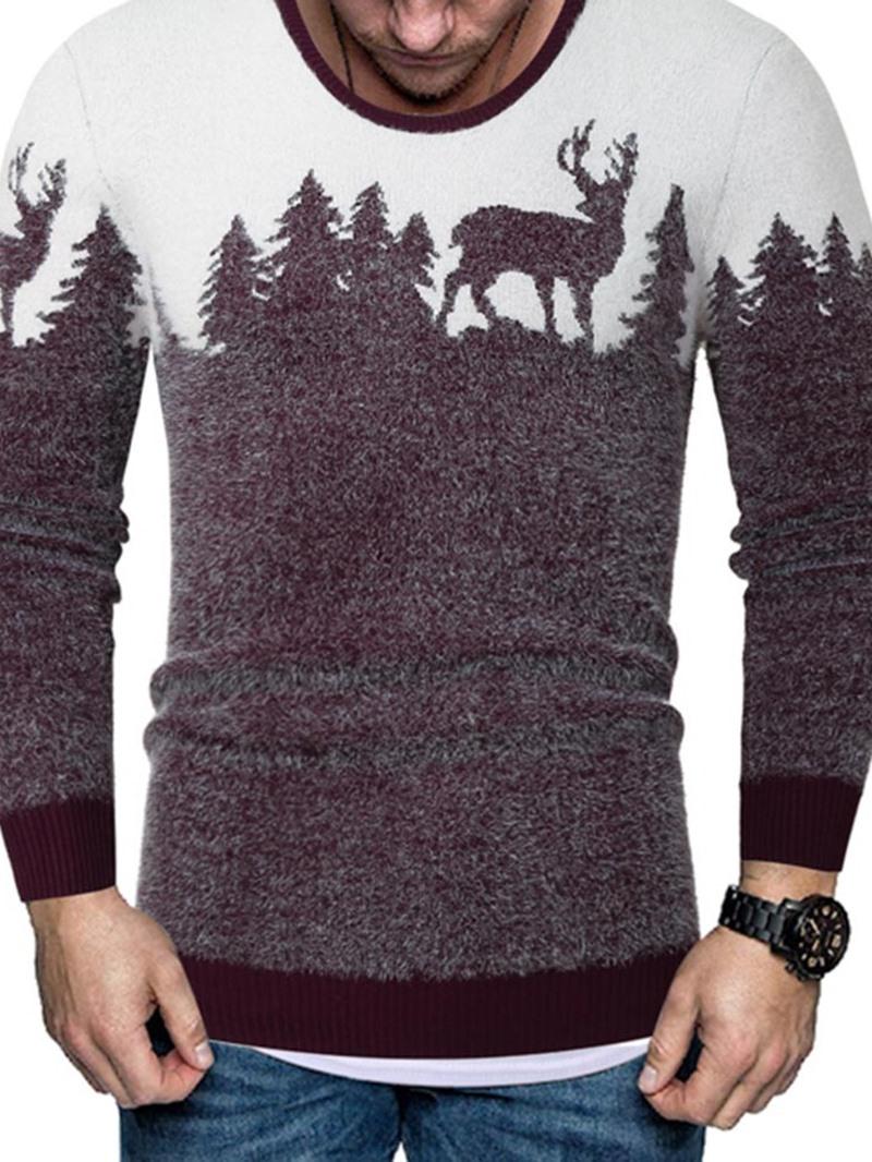 Ericdress Color Block Standard Print European Slim Men's Sweater