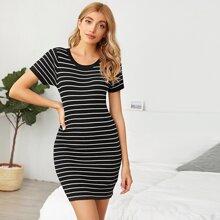 Striped Rib Knit Mini Bodycon Sweater Dress