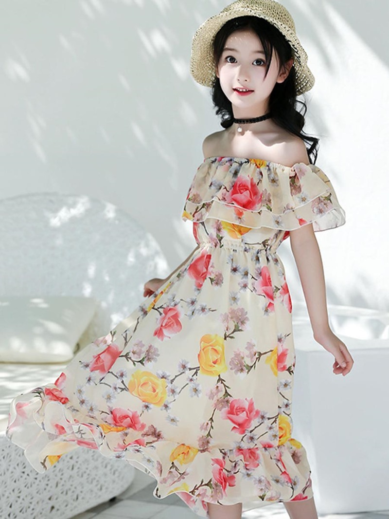 Ericdress Slash Neck Pleated Floral Printed Girl's Beach Dress