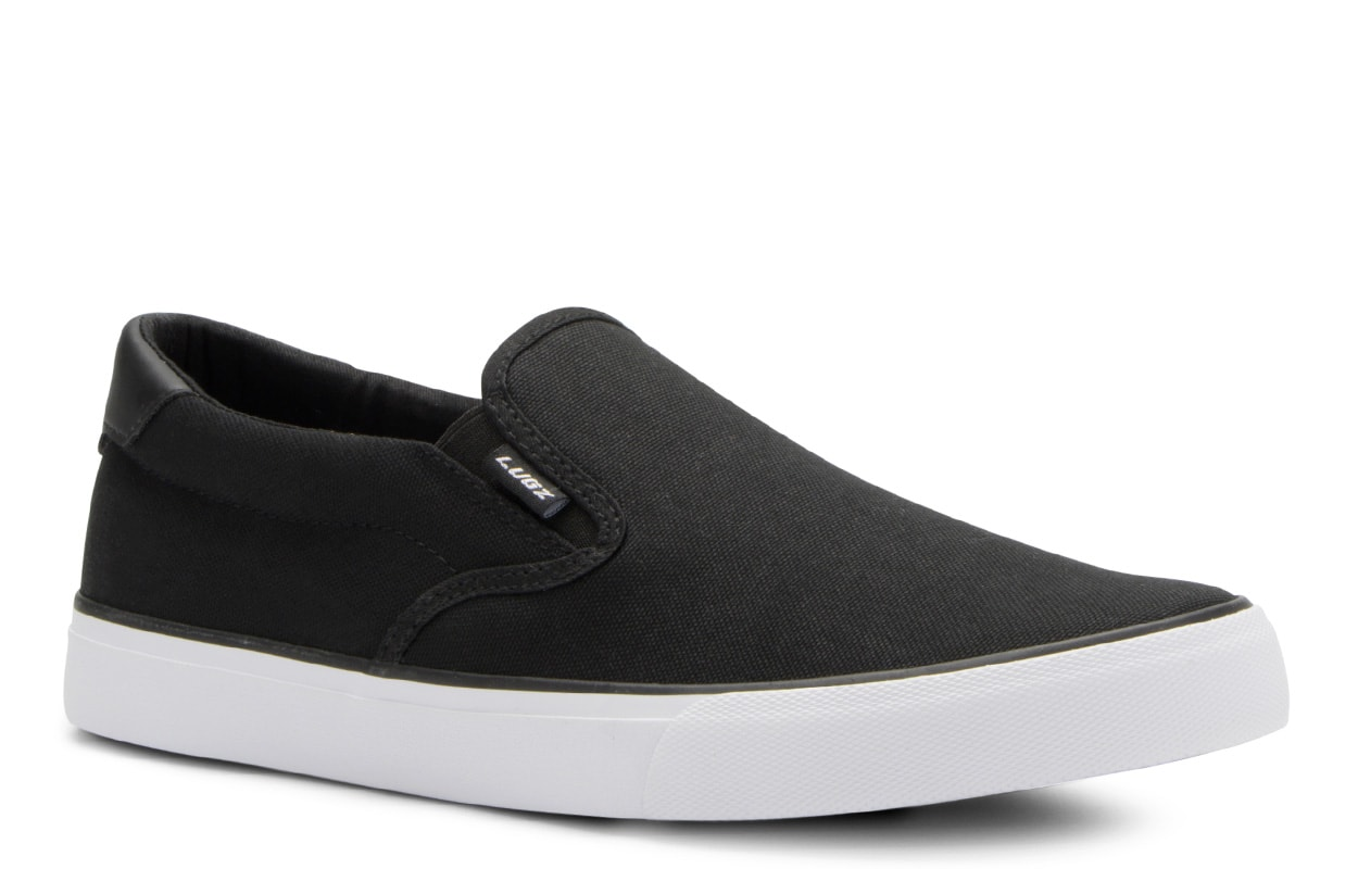 Men's Clipper Slip-On Sneaker (Choose Your Color: Black/White, Choose Your Size: 7.0)