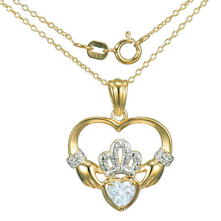 Heart-Shaped Genuine Aquamarine and Diamond-Accent Claddagh Pendant Necklace, One Size , No Color Family