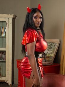 Plus PU Lace-up Ruffle Dress & Thong