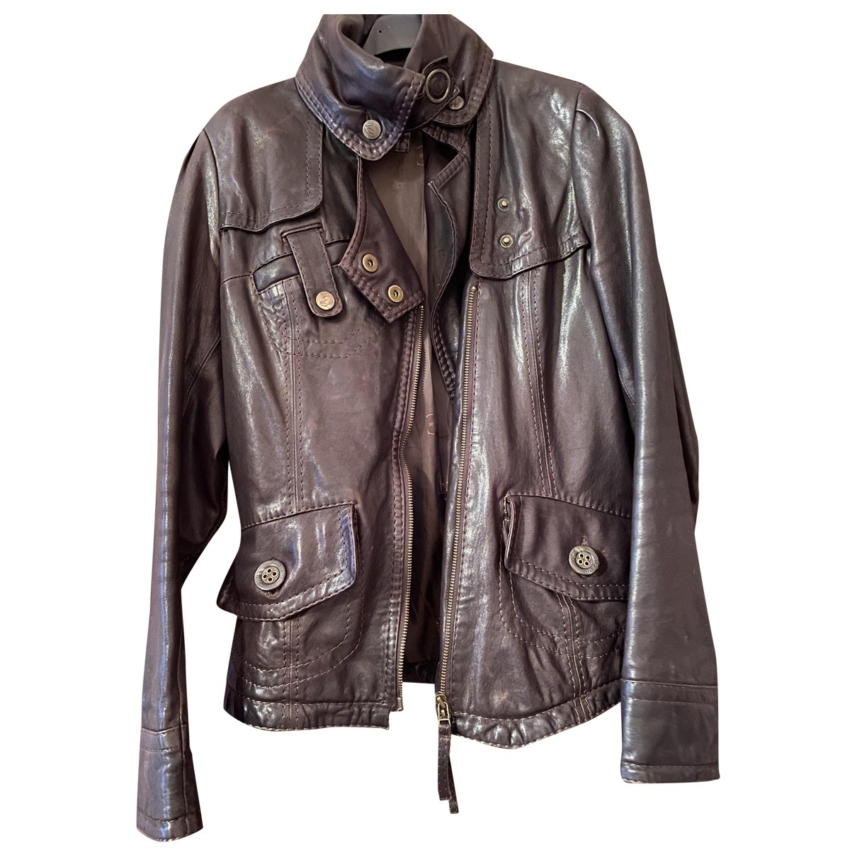Just Cavalli \N Brown Leather Leather jacket for Women 40 IT