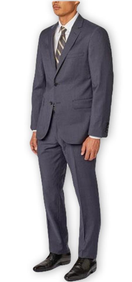 Men's Navy  Notch Lapel Casual Wool Double Vent Two Piece Suit