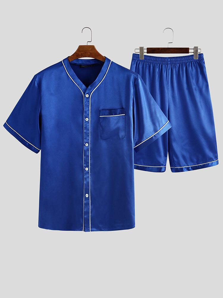 Pure Color Faux Silk Smooth Pajamas Pockets Short Tops & Mid-Pants Sleepwear Sets
