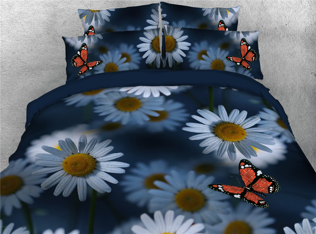 Daisy Four-Piece Set Hand Wash Duvet Cover Set Polyester Bedding Sets Wear-resistant Endurable
