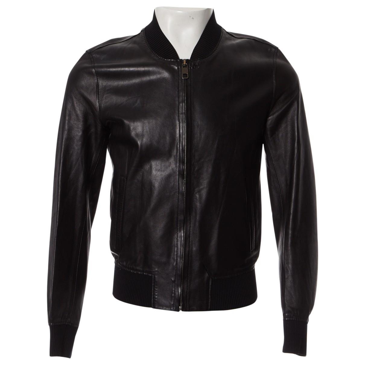 Dolce & Gabbana - Vestes.Blousons   pour homme en cuir - noir