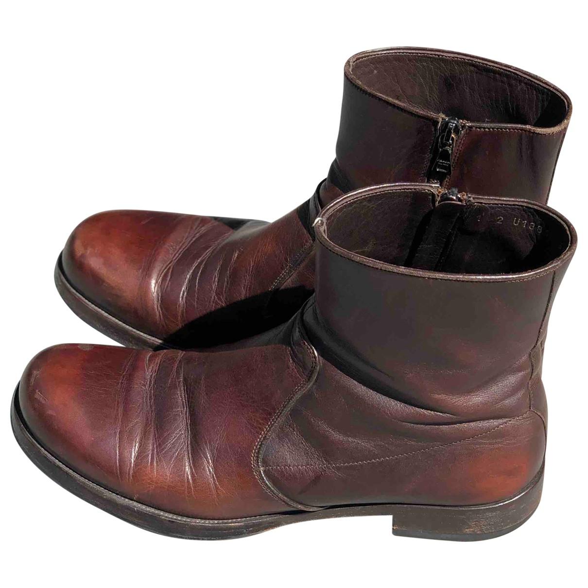 Prada \N Burgundy Leather Boots for Men 40 EU