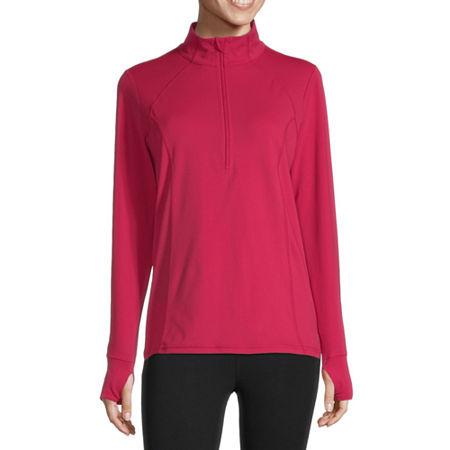 Xersion Womens Mock Neck Long Sleeve Quarter-Zip Pullover, Medium , Pink