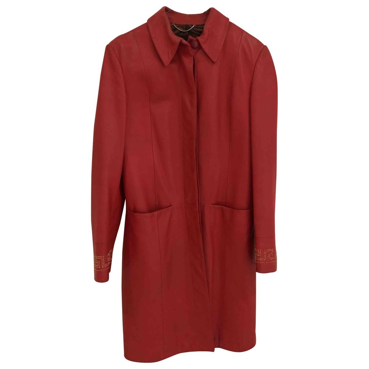 Versace Jeans \N Lederjacke in  Rot Leder