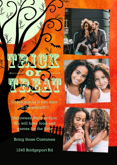 Halloween Photo Cards 5x7 Cards, Standard Cardstock 85lb, Card & Stationery -Trick Or Treat Graveyard