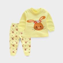 Toddler Girls Cartoon Rabbit & Floral Print PJ Set