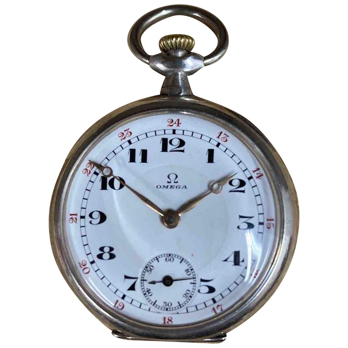 Omega \N Uhr in  Silber Silber