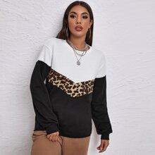 Chevron Pullover mit Leopard Muster