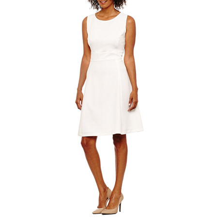 Black Label by Evan-Picone Sleeveless Fit & Flare Dress, 4 , White