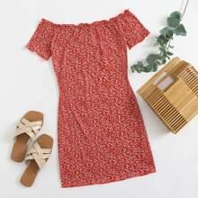 Off Shoulder Lettuce Trim Rib-knit Bodycon Dress