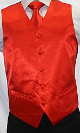 Mens Shiny Red Microfiber 3piece Vest