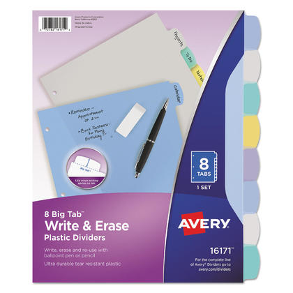 Avery@ Big Tab Write and Erase Durable Plastic Dividers 1 Set - 8 Tabs 787606