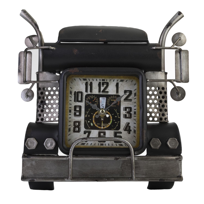 Zogari Semi Truck Wall Clock Vintage Antiqued Finish Metal Artwork 3D Sculpture Décor - Black/Silver