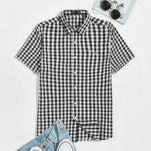 Hemd mit Hirsch Stickereien und Karo Muster