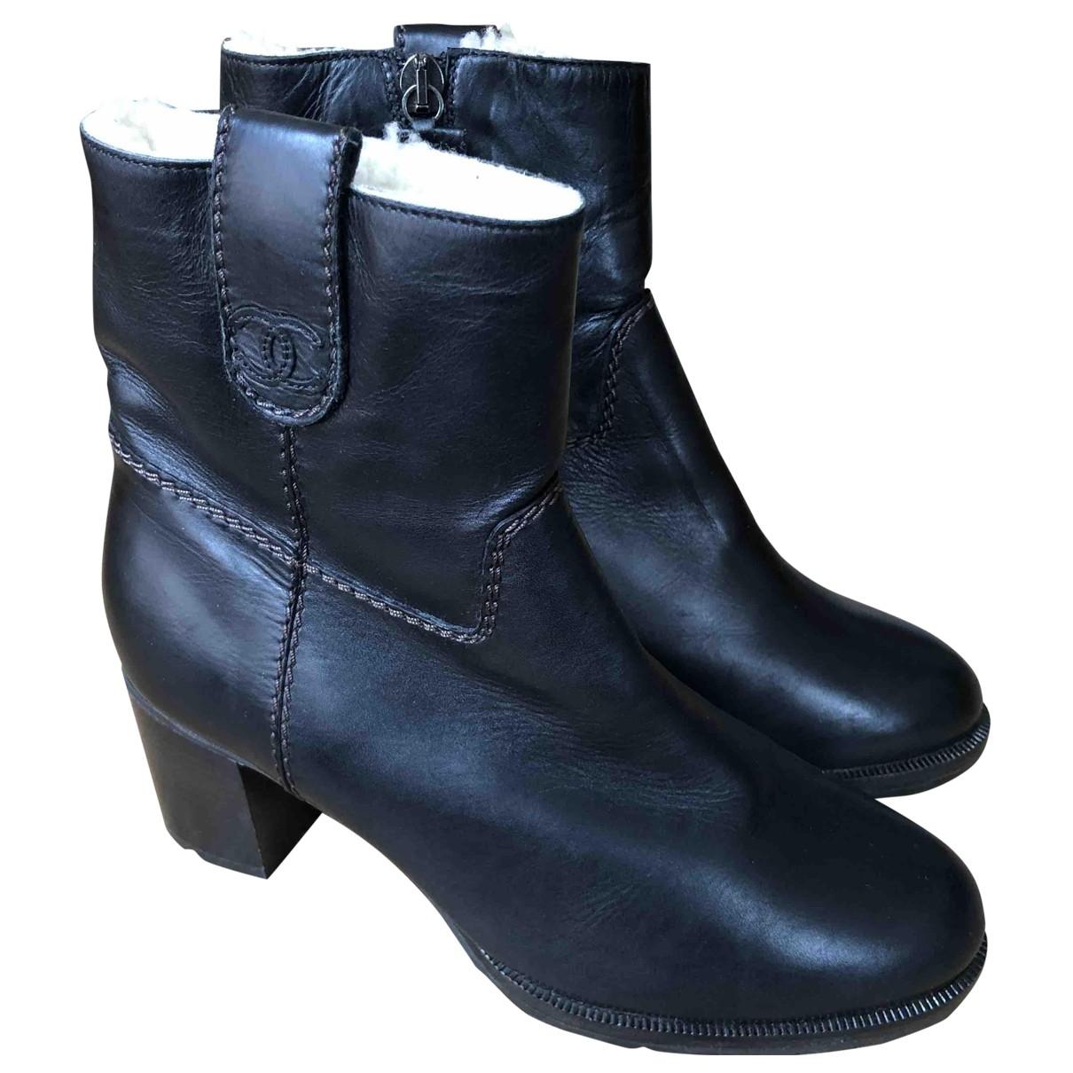 Chanel - Boots   pour femme en cuir - marron