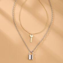 2pcs Lock Key Charm Necklace