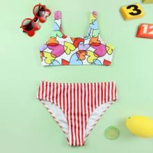 Girls Heart Print Striped Bikini Swimsuit