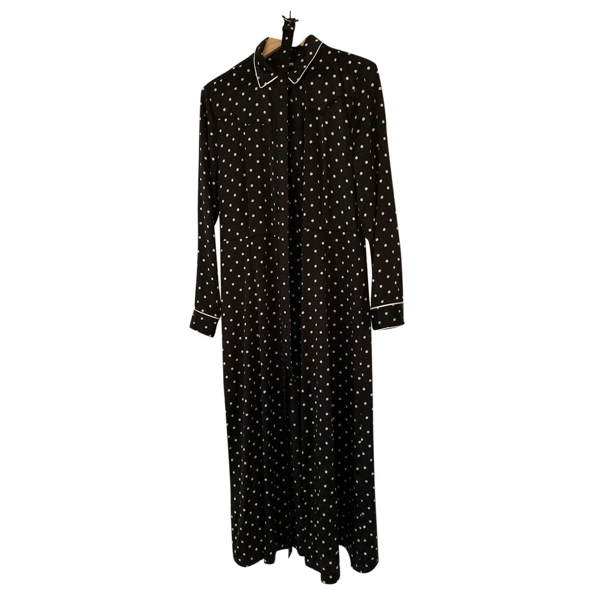 Ganni \N Kleid in  Schwarz Seide