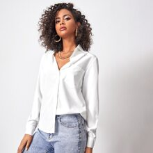 Patch Pocket Button Front Solid Blouse