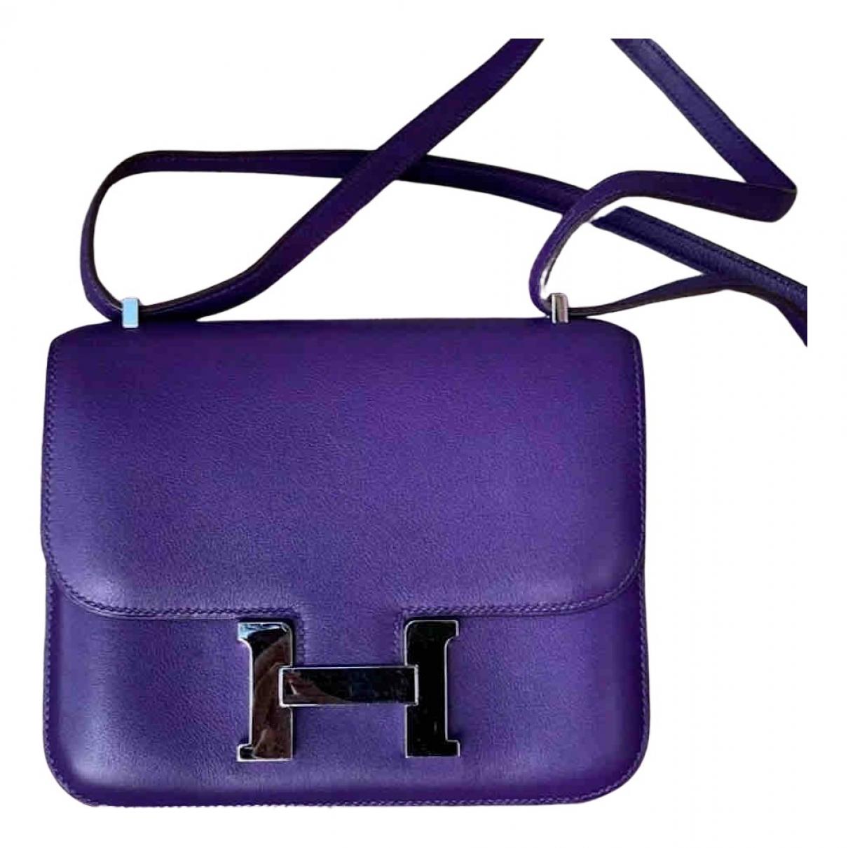 Hermes Constance Handtasche in  Lila Leder