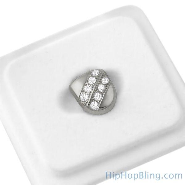 Tooth Grillz Diagonal Bling 2 Row Cap Silver