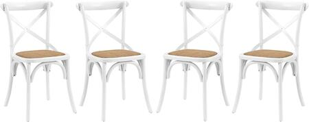 Gear Collection EEI-3482-WHI Set of 4 Side Chairs with Open Wooden Backrest  Tapered Legs and Wood Frame Construction in White