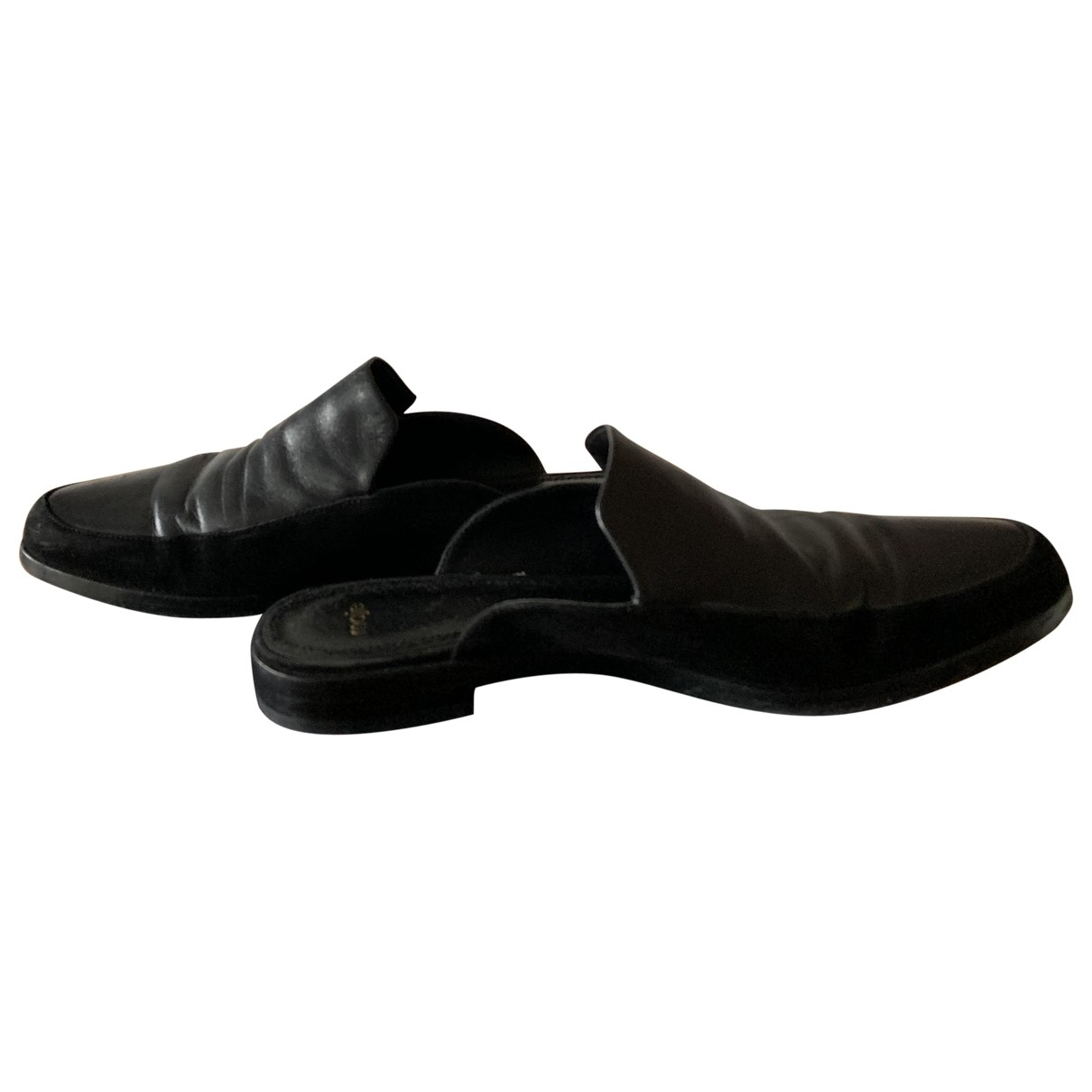 Maje \N Black Leather Flats for Women 39 EU