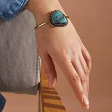 1pc Turquoise Decor Cuff Bracelet