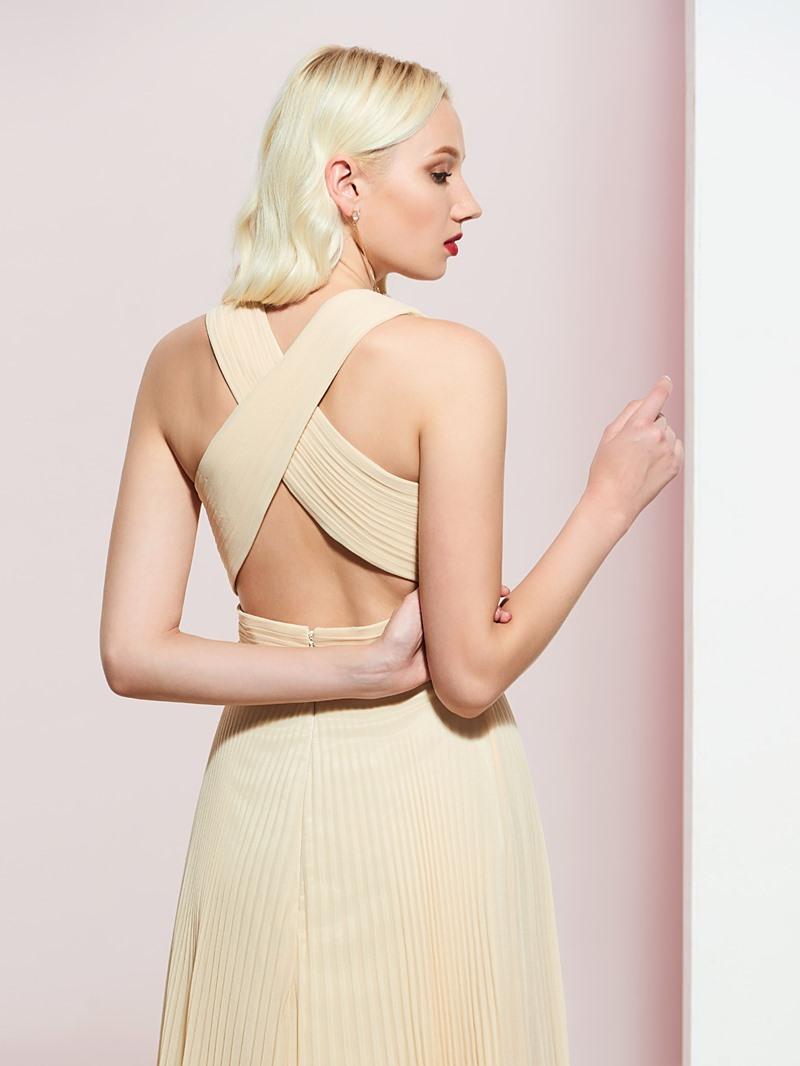 Ericdress V-Neck Halter Pleats A-Line Prom Dress