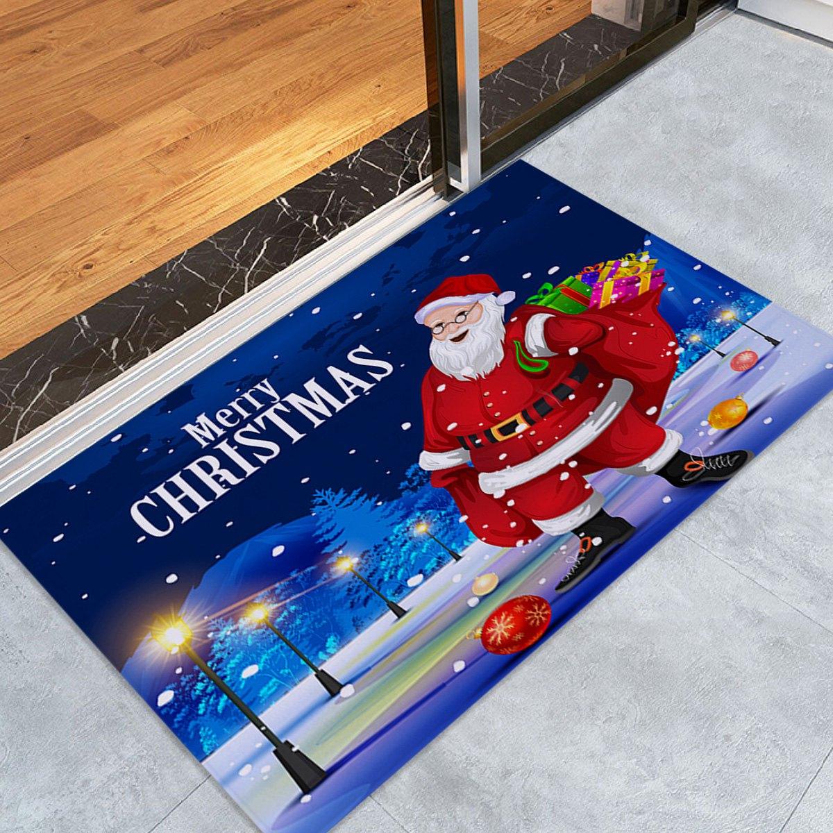 Santa Claus Pattern Fleece Nonslip Christmas Bath Mat