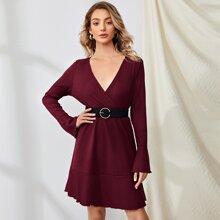 Surplice Front Ruffle Hem Rib-knit Dress Without Belted