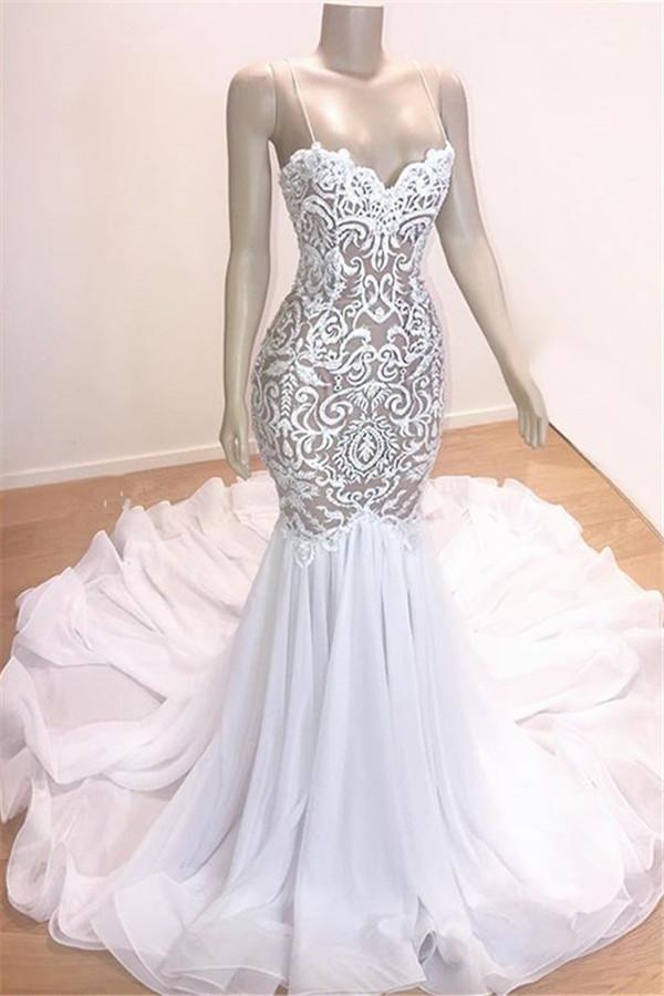 Sexy Straps Mermaid Appliques Wedding Dresses Ruffles Bridal Gown