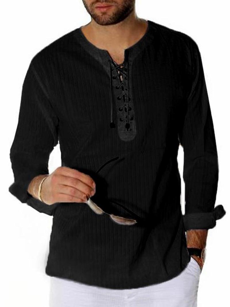 Ericdress Plain Casual Lace-Up Loose Men's T-shirt