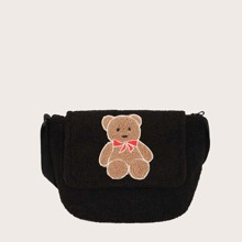 Cartoon Bear Pattern Fuzzy Crossbody Bag