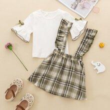 Baby Girl Flounce Sleeve Tee & Tartan Ruffle Pinafore Skirt