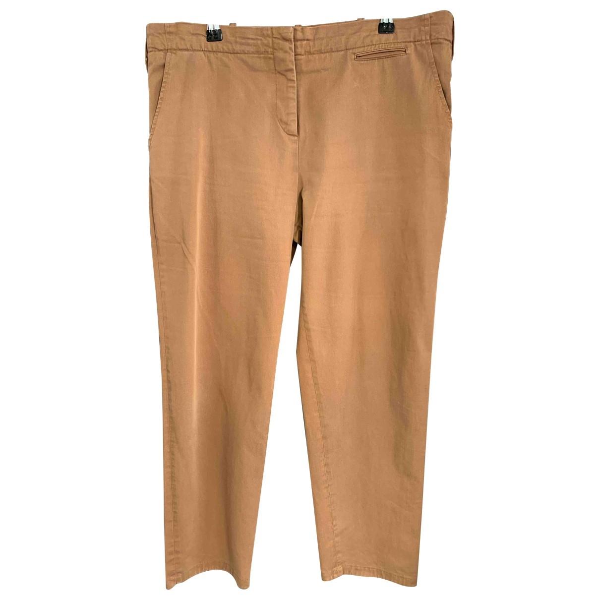Gerard Darel \N Beige Cotton Trousers for Women 44 FR